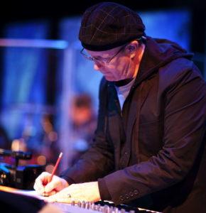 Bob Singleton Composer at synth keyboard